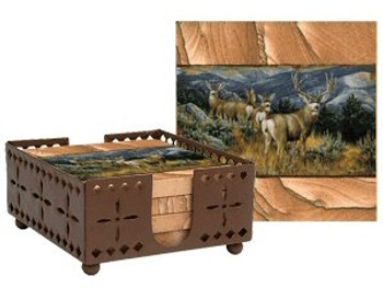 Last Glance Mule Deer Sandstone Coasters with Steel Holder, Set of 10
