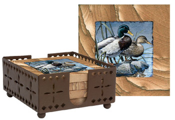 Mallard Ducks Rocky Retreat Sandstone Coasters w/Holder, Set of 10