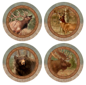 Wildlife Animals Quartet Beverage Coasters, Set of 8