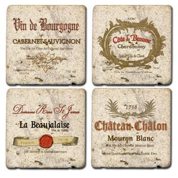 Wine Labels Assorted Travertine Stone Beverage Coasters, Set of 8