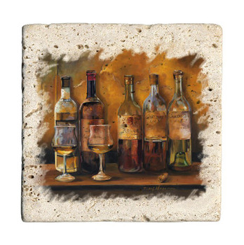 Cellar White Wines Travertine Stone Beverage Coasters, Set of 8