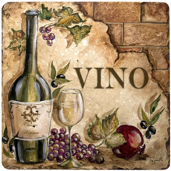 Vino Wine Travertine Stone Beverage Coasters, Set of 8