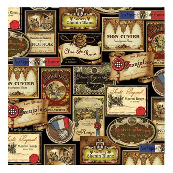 French Wine Labels Beverage Coasters by Kate Ward Thacker, Set of 8