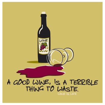 Terrible Thing to Waste Beverage Coasters by Wine is Life, Set of 12
