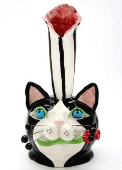 Cat Porcelain Bud Vase