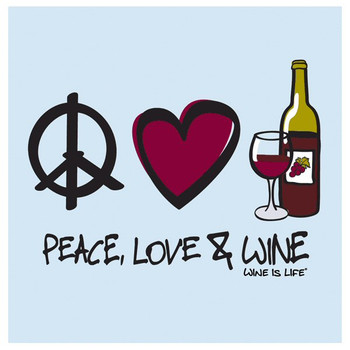 Peace Love & Wine Beverage Coasters by Wine is Life, Set of 12