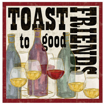Toast to Good Friends Beverage Coasters by Tara Reed, Set of 8