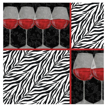 Zebra Wine Absorbent Beverage Coasters by Tara Reed, Set of 8