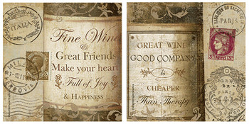 European Wine Bottle Quotes Absorbent Beverage Coasters, Set of 8