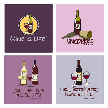 Wine is Life Absorbent Beverage Coasters, Set of 8