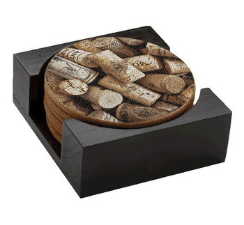 Corks Wine Cork Beverage Coasters, Set of 14