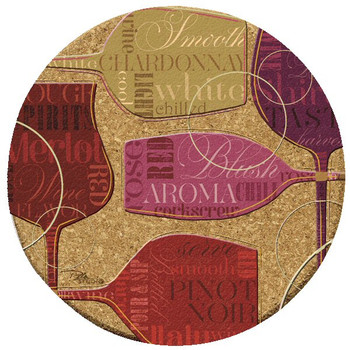 Colorful Wine III Cork Beverage Coasters by Peta Studio, Set of 12