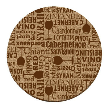 Wine Words Cork Beverage Coasters by Tara Reed, Set of 12