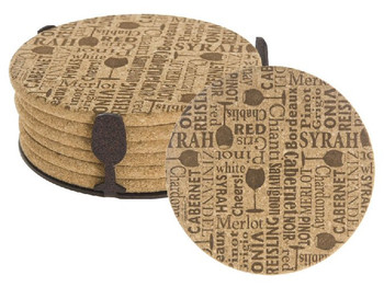 Wine Words Beverage Coasters with Steel Holders, Set of 14