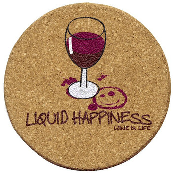 Liquid Happiness Wine is Life Cork Beverage Coasters, Set of 12
