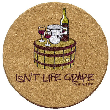 Isn't Life Grape Wine is Life Cork Beverage Coasters, Set of 12