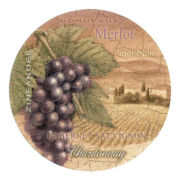 Wine Country Sandstone Beverage Coasters, Set of 8