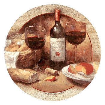 Wine & Cheese Sandstone Beverage Coasters by Chauncey Homer, Set of 8