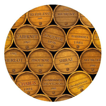 Wine Barrels Sandstone Beverage Coasters by Dan Morris, Set of 8