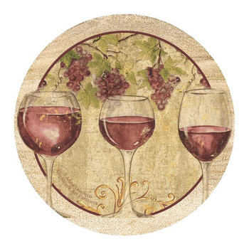Wine Harvest II Sandstone Beverage Coasters by A. Tavoletti, Set of 8