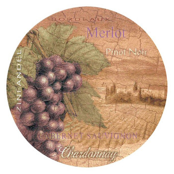 Wine Country Absorbent Round Beverage Coasters, Set of 8