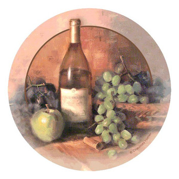 Wine and Fruit Round Beverage Coasters by Chauncey Homer, Set of 8