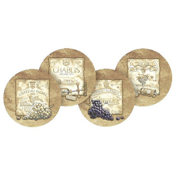 Wine Labels Round Beverage Coasters by Richard Henson, Set of 8