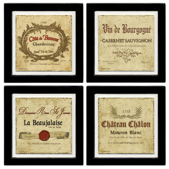 Assorted Wine Labels Beverage Coasters, Set of 8