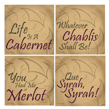 Life is a Cabernet Beverage Coasters by E.C. Stewart, Set of 8
