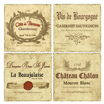 Wine Labels Absorbent Beverage Coasters by Kate Ward Thacker, Set of 8
