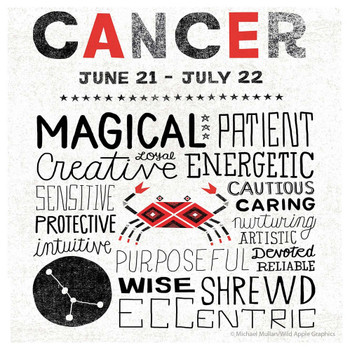 Cancer Zodiac Absorbent Beverage Coasters, Set of 12