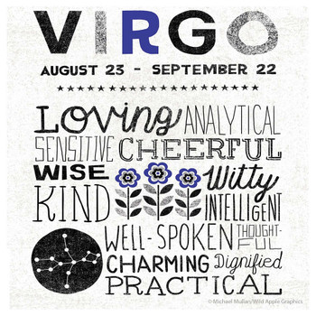 Virgo Zodiac Absorbent Beverage Coasters, Set of 12