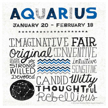 Aquarius Zodiac Absorbent Beverage Coasters, Set of 12