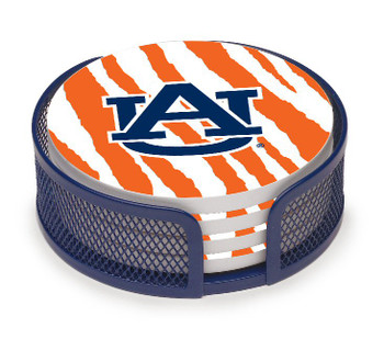 Auburn Tigers Stripes Coasters with Mesh Holders, Set of 10