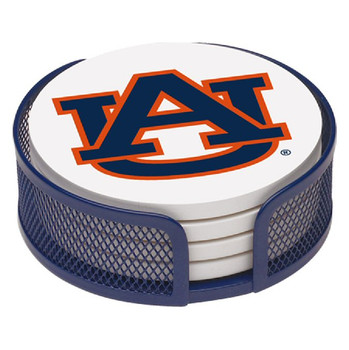 Auburn Tigers Beverage Coasters with Mesh Holders, Set of 10