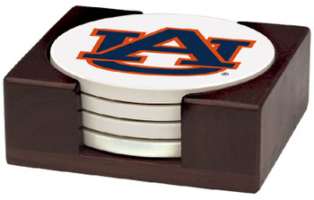 Auburn Tigers Beverage Coasters with Holders, Set of 10