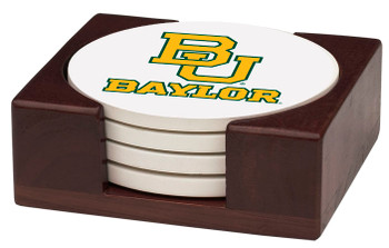 Baylor Bears Beverage Coasters with Holders, Set of 10
