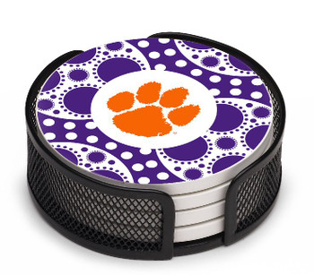 Clemson Tigers Circles Beverage Coasters with Holders, Set of 10