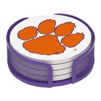 Clemson Tigers Beverage Coasters with Mesh Holders, Set of 10