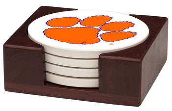 Clemson Tigers Beverage Coasters with Holders, Set of 10