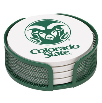 Colorado State Rams Beverage Coasters with Holders, Set of 10