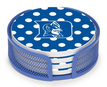 Duke Blue Devils Dots Beverage Coasters with Mesh Holders, Set of 10