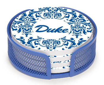 Duke Blue Devils Swirls Beverage Coasters w/Mesh Holders, Set of 10