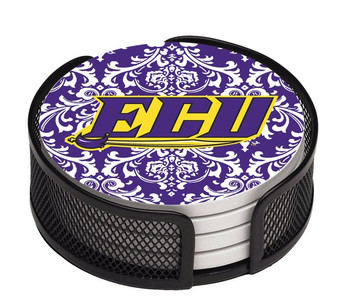 East Carolina Pirates Pattern Coasters with Mesh Holders, Set of 10