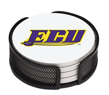East Carolina Pirates Beverage Coasters with Mesh Holders, Set of 10