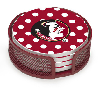 Florida State Seminoles Dots Coasters with Mesh Holders, Set of 10