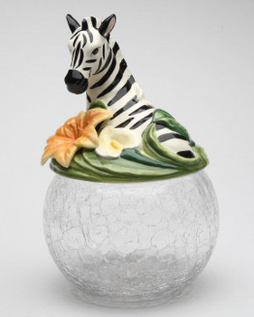Zebra Glass Cookie Jar