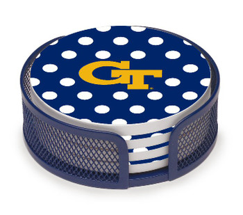 Georgia Tech Yellow Jackets Dots Coasters w/Mesh Holders, Set of 10