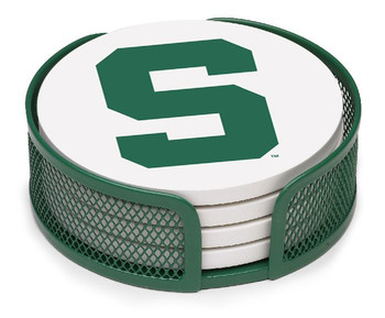 Michigan State Spartans Beverage Coasters w/Mesh Holders, Set of 10