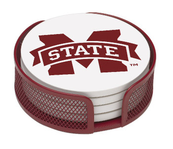 Mississippi State Bulldogs Beverage Coasters w/Mesh Holders, Set of 10
